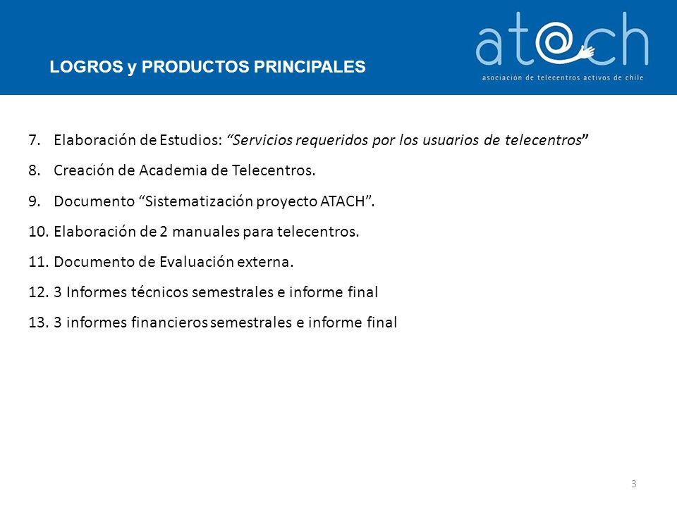 7.Elaboración de Estudios: Servicios requeridos por los usuarios de telecentros 8.Creación de Academia de Telecentros.