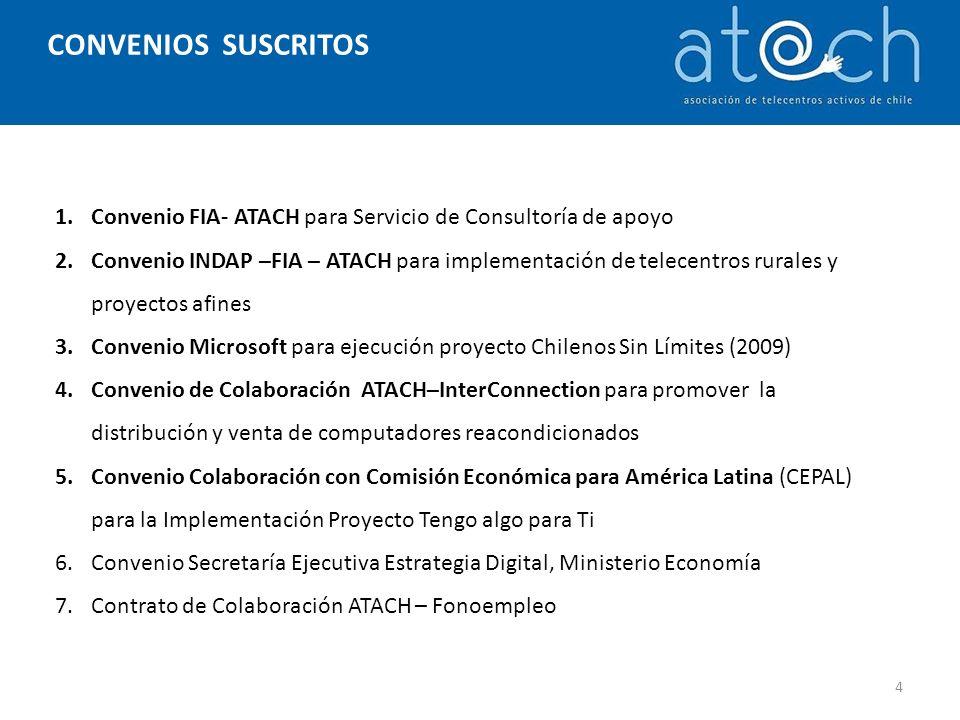CONVENIOS SUSCRITOS 1.Convenio FIA- ATACH para Servicio de Consultoría de apoyo 2.Convenio INDAP –FIA – ATACH para implementación de telecentros rurales y proyectos afines 3.Convenio Microsoft para ejecución proyecto Chilenos Sin Límites (2009) 4.Convenio de Colaboración ATACH–InterConnection para promover la distribución y venta de computadores reacondicionados 5.Convenio Colaboración con Comisión Económica para América Latina (CEPAL) para la Implementación Proyecto Tengo algo para Ti 6.Convenio Secretaría Ejecutiva Estrategia Digital, Ministerio Economía 7.Contrato de Colaboración ATACH – Fonoempleo 4