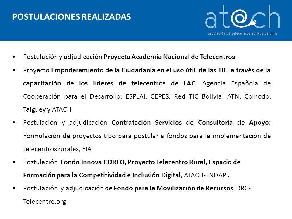 POSTULACIONES REALIZADAS Postulación y adjudicación Proyecto Academia Nacional de Telecentros Proyecto Empoderamiento de la Ciudadanía en el uso útil de las TIC a través de la capacitación de los líderes de telecentros de LAC.