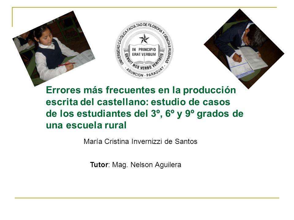 Errores más frecuentes en la producción escrita del castellano: estudio de casos de los estudiantes del 3º, 6º y 9º grados de una escuela rural María