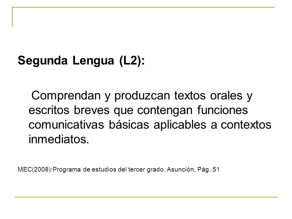 Segunda Lengua (L2): Comprendan y produzcan textos orales y escritos breves que contengan funciones comunicativas básicas aplicables a contextos inmed