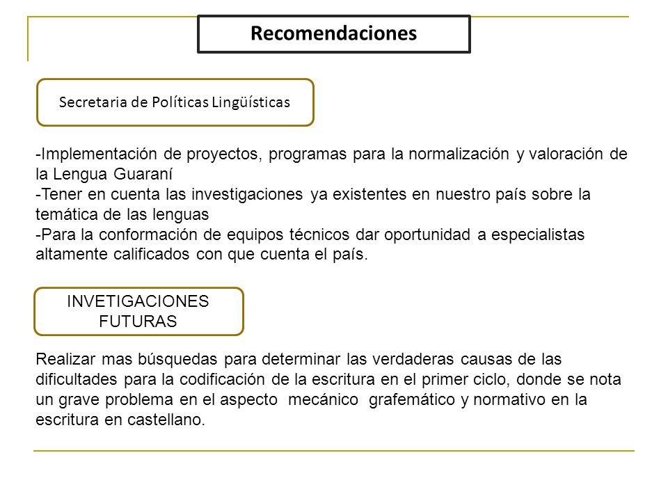 Recomendaciones Secretaria de Políticas Lingüísticas INVETIGACIONES FUTURAS Realizar mas búsquedas para determinar las verdaderas causas de las dificu