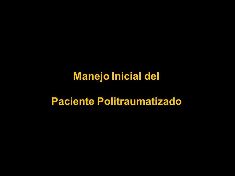 POLITRAUMATISMO SHOCK NORMAS TERAPEUTICAS MANTENER PERMEABLE VIA AEREA INMOVILIZAR COLUMNA CERVICAL APORTAR OXIGENO A ALTO FLUJO ASEGURAR VENTILACION PULMONAR CANALIZAR DOS VENAS PERIFERICAS CATETERES CORTOS Y GRUESOS APORTAR RINGER LACTATO TIBIO A FLUJO RAPIDO 2000 ML EVALUAR RESPUESTA HEMODINAMICA