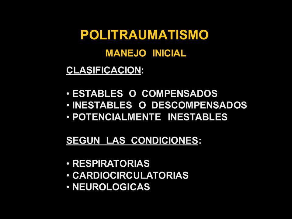 POLITRAUMATISMO SHOCK NEUROGRNICO CAUSAS: LESION MEDULAR CLINICA: HIPOTENSION SIN TAQUICARDIA NO VASOCONSTRICCION PERIFERICA TACTO RECTAL - HIPOTONIA O ATONIA ESFINTERIANA EFECTUAR: APORTAR VOLUMEN DROGAS VASOACTIVAS, MEDIR P.