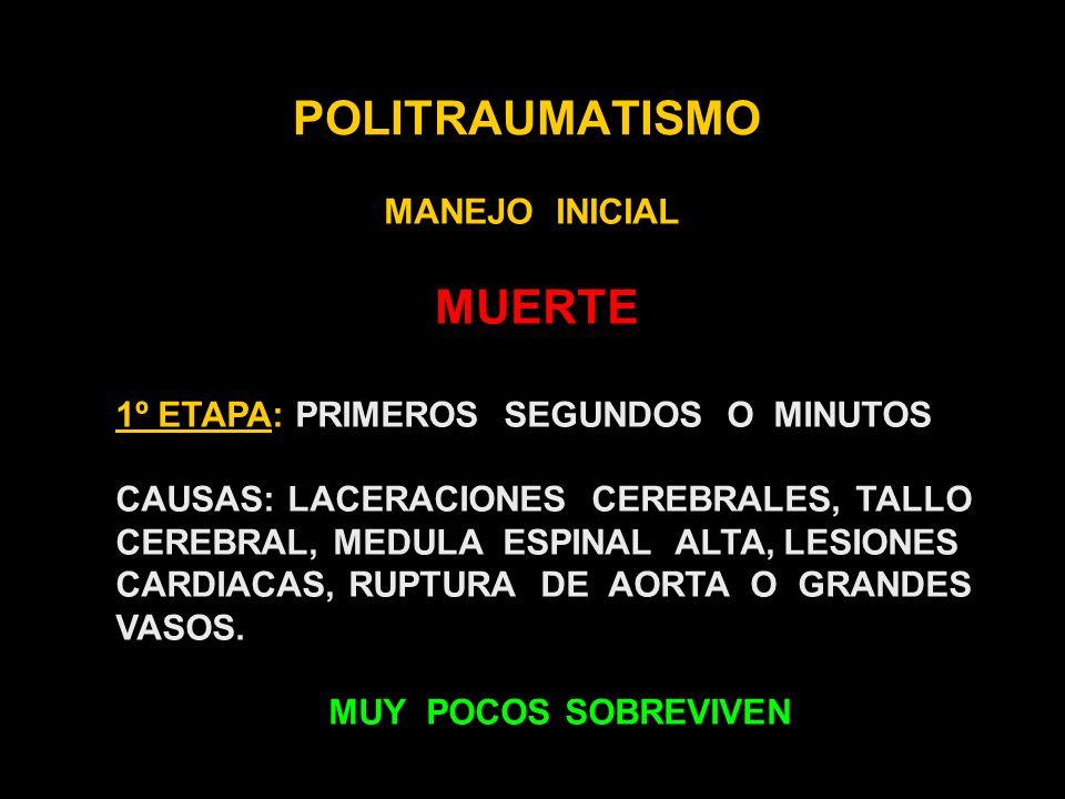 POLITRAUMATISMO MANEJO INICIAL 1- EVALUACION PRIMARIA A- MANTENIMIENTO DE LA VIA AEREA CON CONTROL DE LA COLUMNA CERVICAL B- VENTILACION - RESPIRACION C- CIRCULACION CON CONTROL DE LA HEMORRAGIA D- DEFICIT NEUROLOGICO E- EXPOSICION