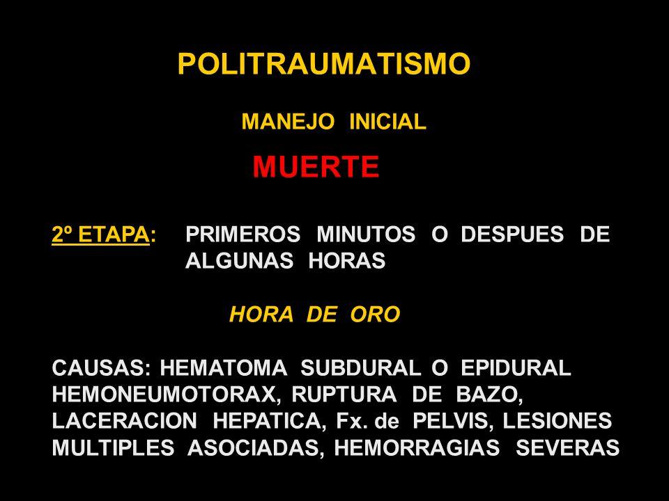 POLITRAUMATISMO MANEJO INICIAL C- CIRCULACION ESTADO DE CONCIENCIA COLOR DE LA PIEL PULSO ( CALIDAD, FRECUENCIA y REGULARIDAD ) LLENADO CAPILAR CONTROL DE LAS HEMORRAGIAS PRESION DIRECTA SOBRE LA HERIDA FERULAS NEUMATICAS NO USAR TORNIQUETES IDENTIFICAR HEMORRAGIAS EXANGUINANTES (HEMOTORAX, HEMOPERITONEO y Fx.