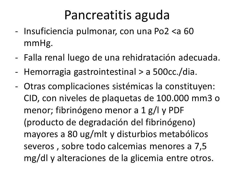 Pancreatitis aguda -Insuficiencia pulmonar, con una Po2 <a 60 mmHg. -Falla renal luego de una rehidratación adecuada. -Hemorragia gastrointestinal > a