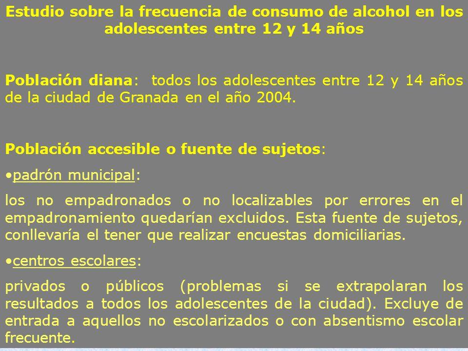 Estudio sobre la frecuencia de consumo de alcohol en los adolescentes entre 12 y 14 años Población diana: todos los adolescentes entre 12 y 14 años de