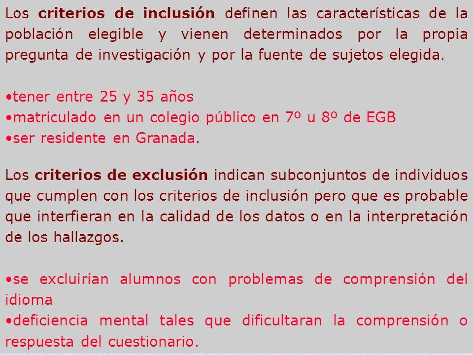 Los criterios de inclusión definen las características de la población elegible y vienen determinados por la propia pregunta de investigación y por la
