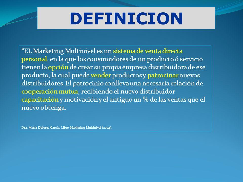 DEFINICION EL Marketing Multinivel es un sistema de venta directa personal, en la que los consumidores de un producto ó servicio tienen la opción de c