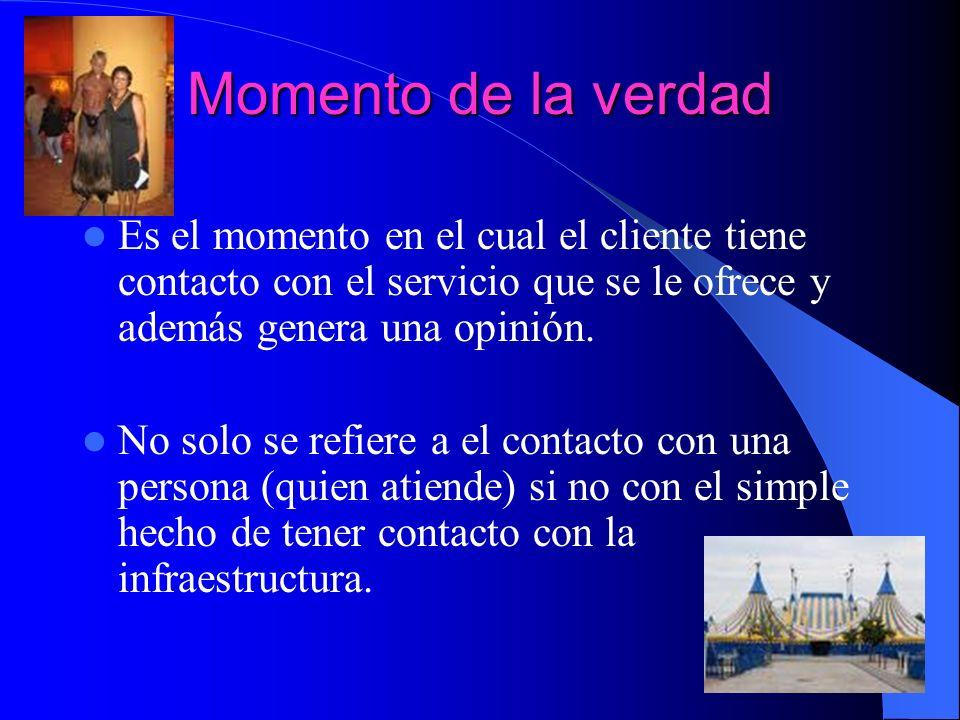 Momento de la verdad Es el momento en el cual el cliente tiene contacto con el servicio que se le ofrece y además genera una opinión. No solo se refie