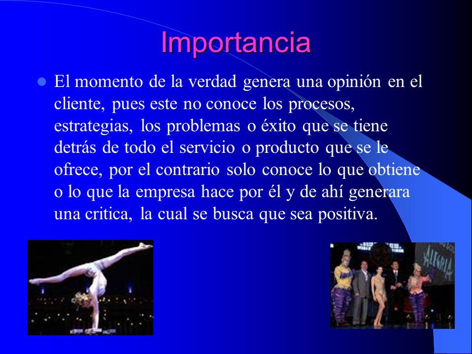Importancia El momento de la verdad genera una opinión en el cliente, pues este no conoce los procesos, estrategias, los problemas o éxito que se tien