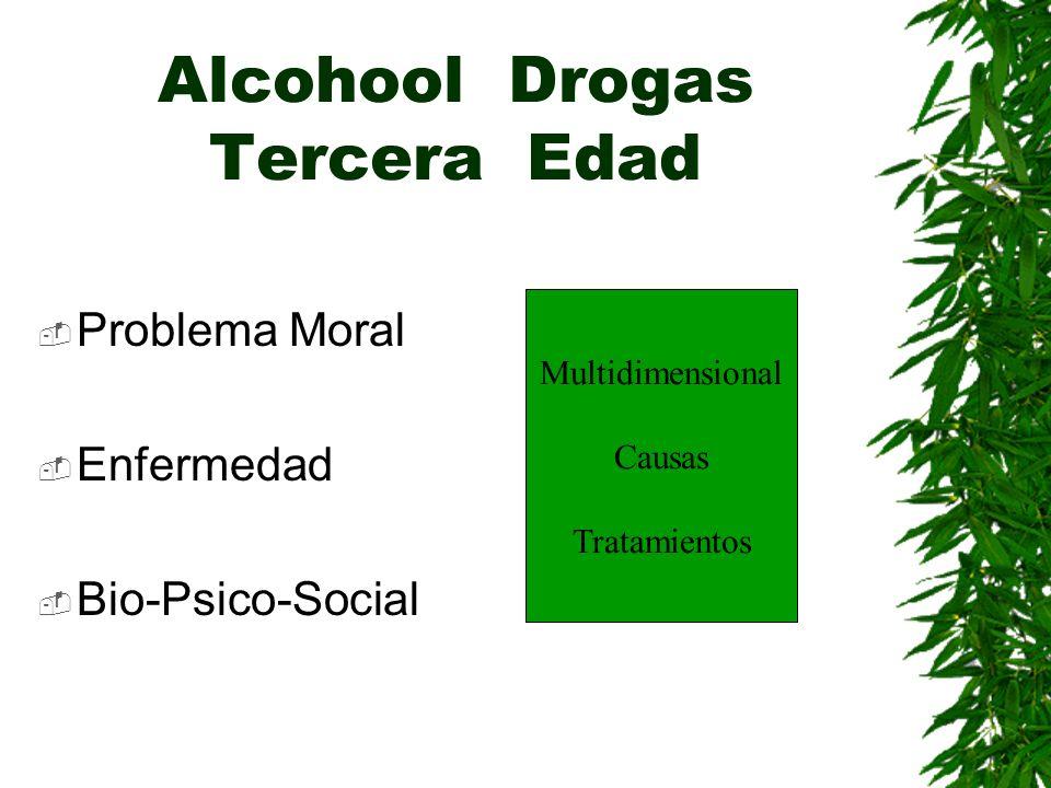 Alcohool Drogas Tercera Edad Problema Moral Enfermedad Bio-Psico-Social Multidimensional Causas Tratamientos