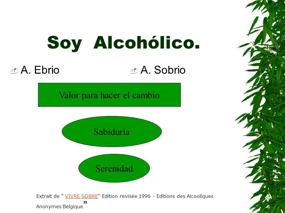 Soy Alcohólico. A. Ebrio A. Sobrio Valor para hacer el cambio Sabiduría Serenidad Extrait de