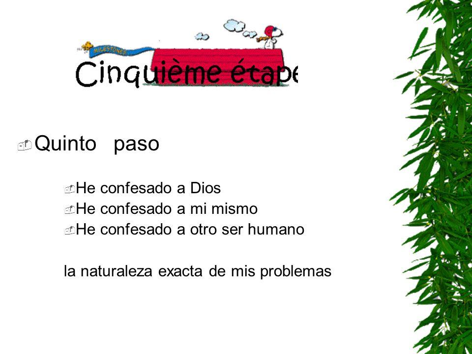 Quinto paso He confesado a Dios He confesado a mi mismo He confesado a otro ser humano la naturaleza exacta de mis problemas