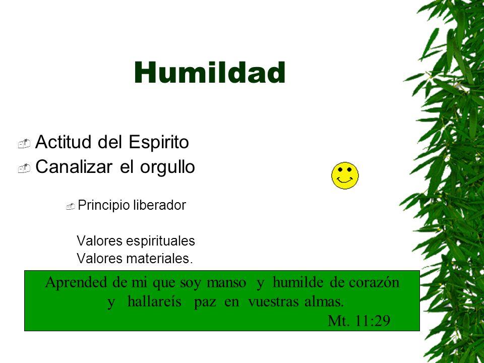 Humildad Actitud del Espirito Canalizar el orgullo Principio liberador Valores espirituales Valores materiales. Aprended de mi que soy manso y humilde