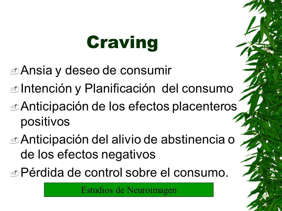 Craving Ansia y deseo de consumir Intención y Planificación del consumo Anticipación de los efectos placenteros positivos Anticipación del alivio de a