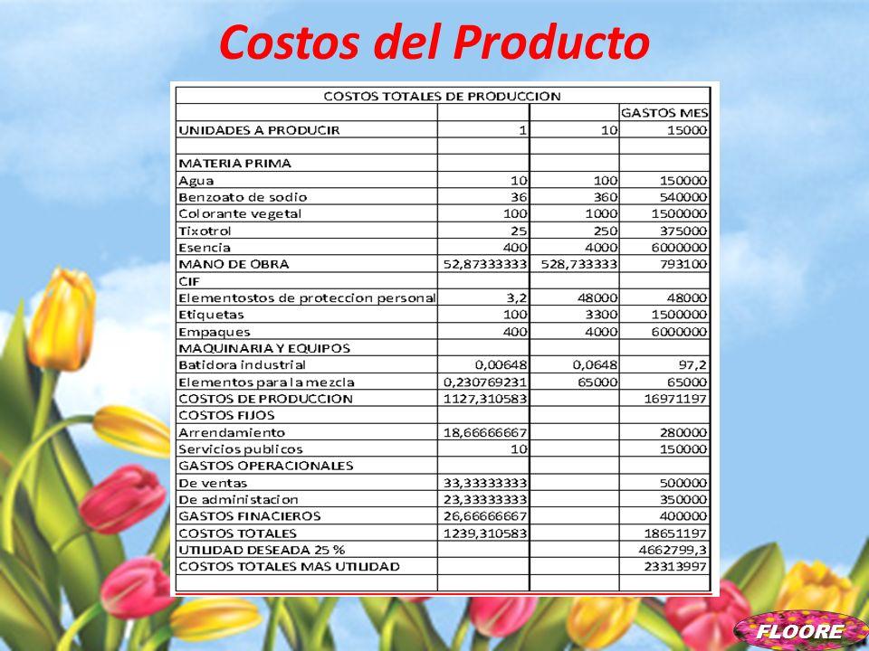 Costos del Producto FLOORE