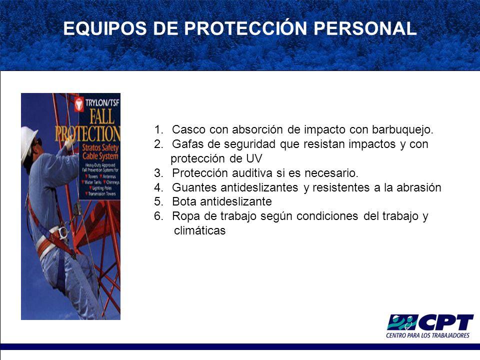 EQUIPOS DE PROTECCIÓN PERSONAL 1.Casco con absorción de impacto con barbuquejo.