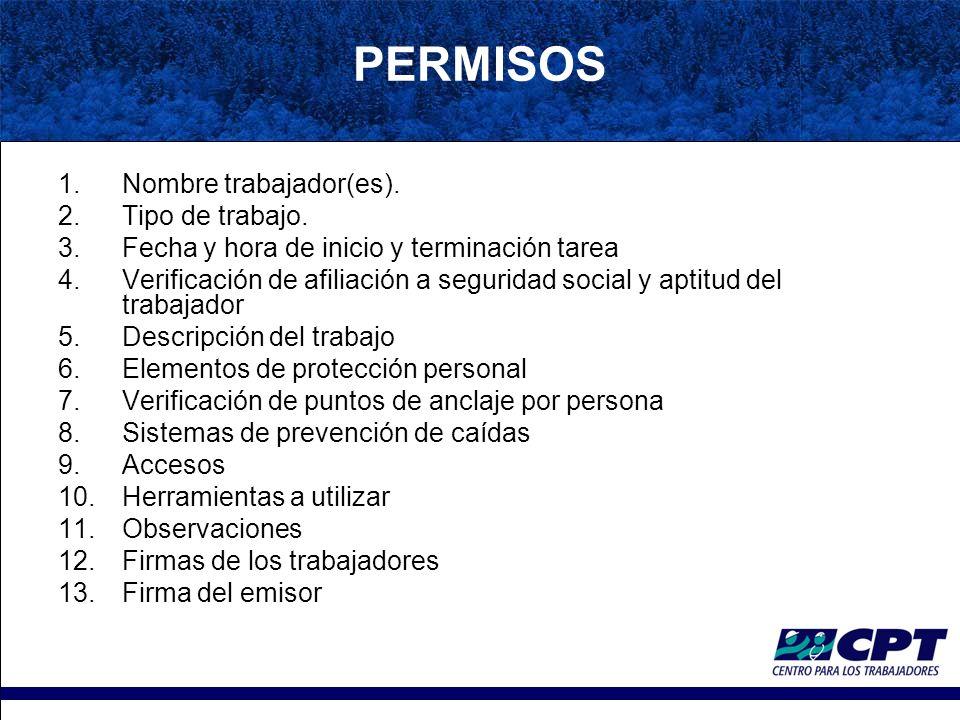 PERMISOS 1.Nombre trabajador(es).2.Tipo de trabajo.