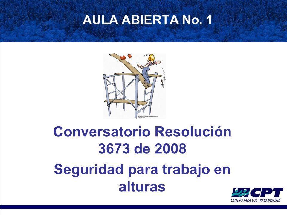 AULA ABIERTA No. 1 Conversatorio Resolución 3673 de 2008 Seguridad para trabajo en alturas