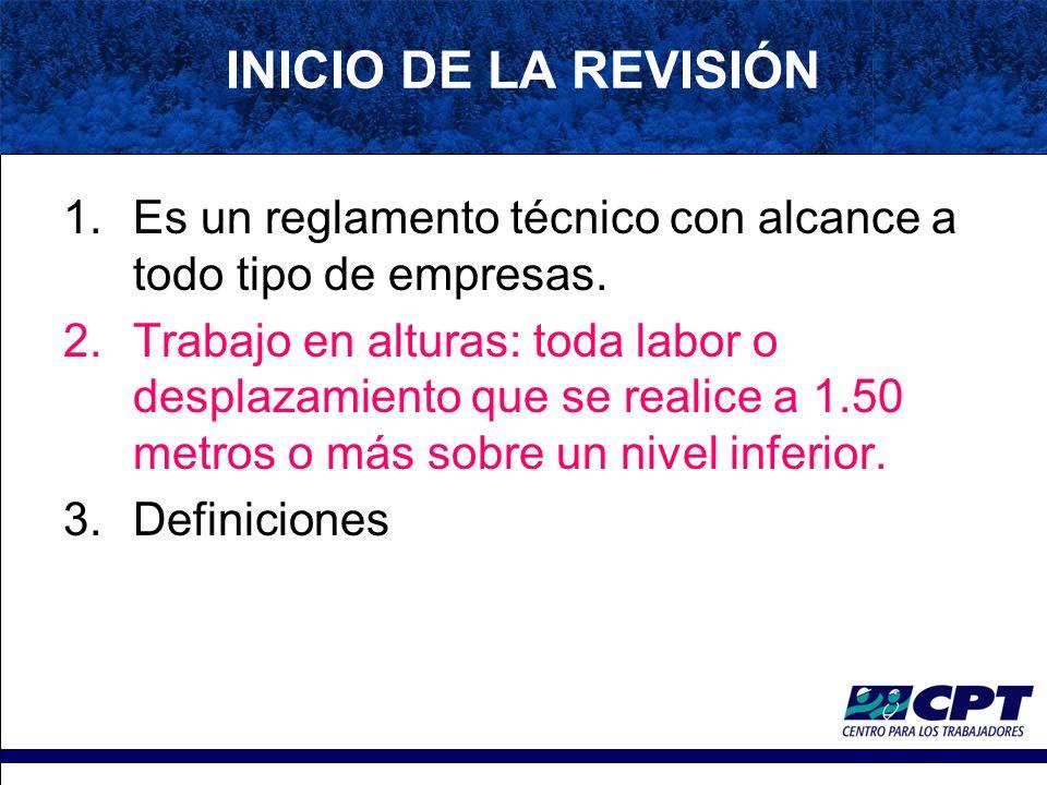 INICIO DE LA REVISIÓN 1.Es un reglamento técnico con alcance a todo tipo de empresas.