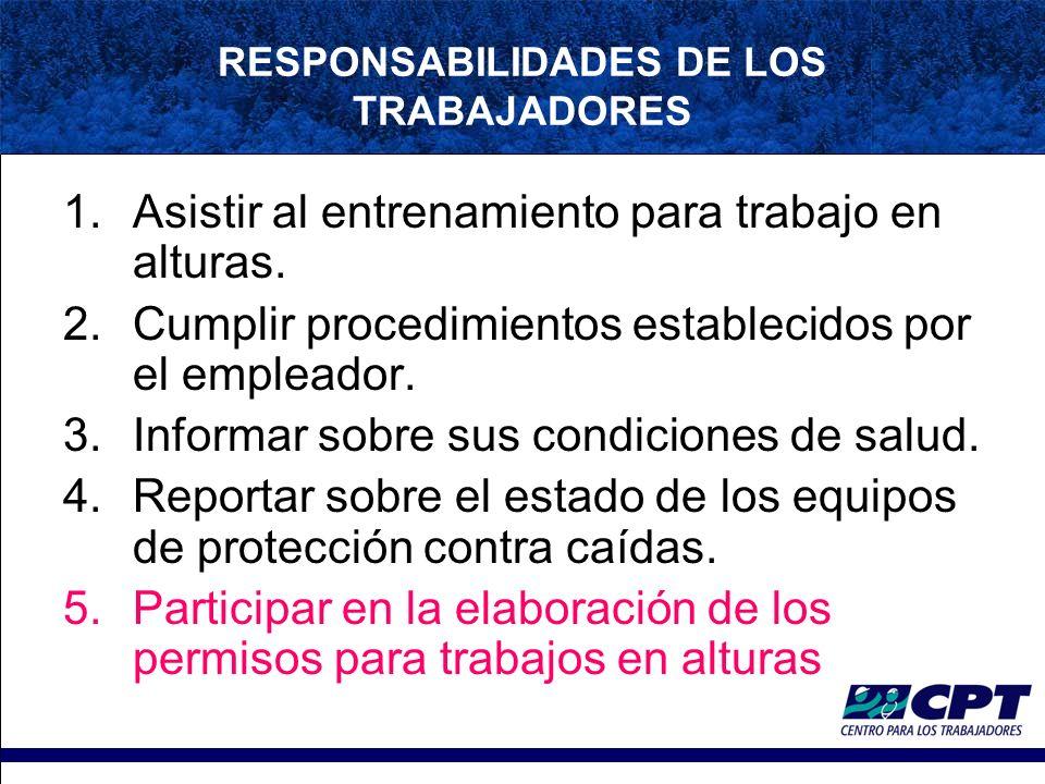 RESPONSABILIDADES DE LOS TRABAJADORES 1.Asistir al entrenamiento para trabajo en alturas.