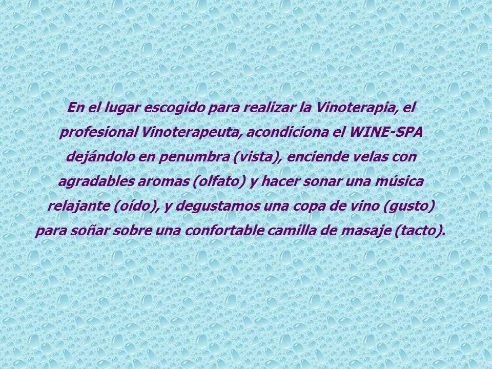 En el lugar escogido para realizar la Vinoterapia, el profesional Vinoterapeuta, acondiciona el WINE-SPA dejándolo en penumbra (vista), enciende velas