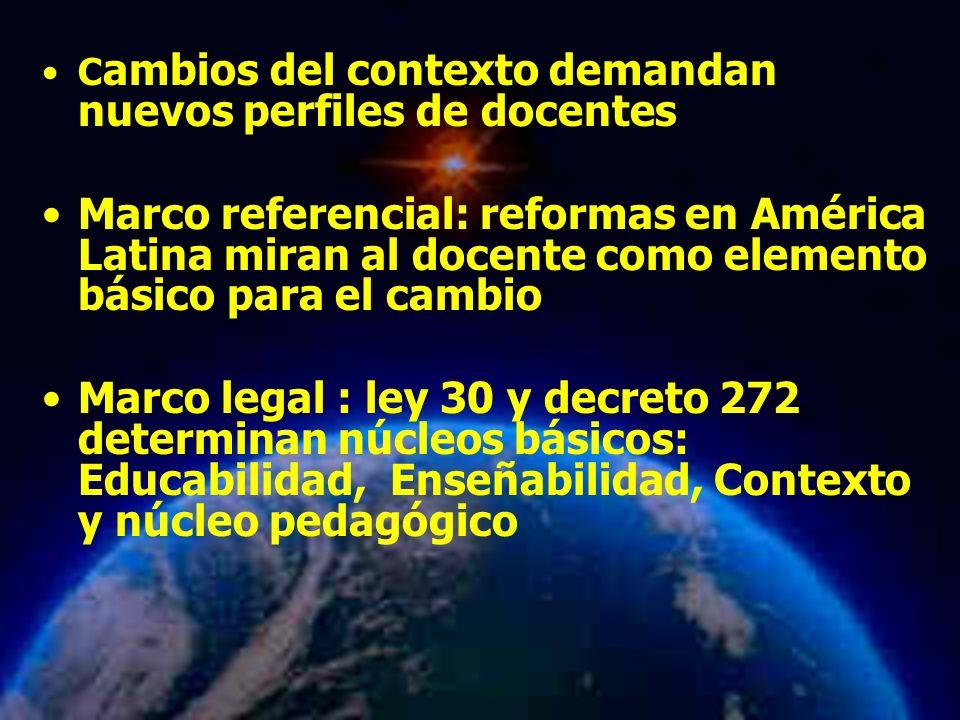 Mariela Salgado A C ambios del contexto demandan nuevos perfiles de docentes Marco referencial: reformas en América Latina miran al docente como eleme