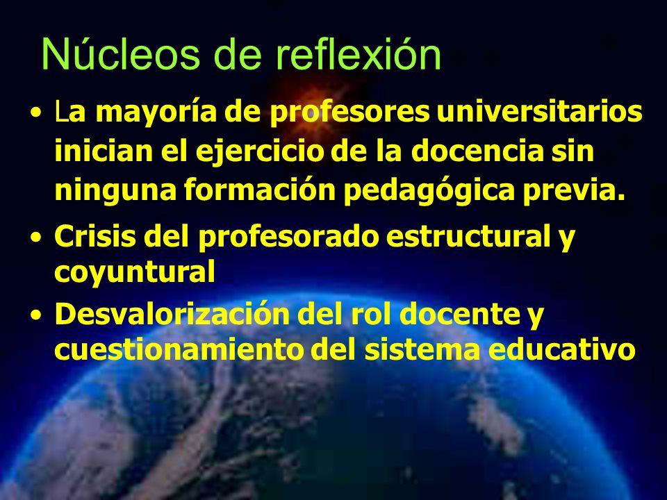 Mariela Salgado A Núcleos de reflexión La mayoría de profesores universitarios inician el ejercicio de la docencia sin ninguna formación pedagógica pr
