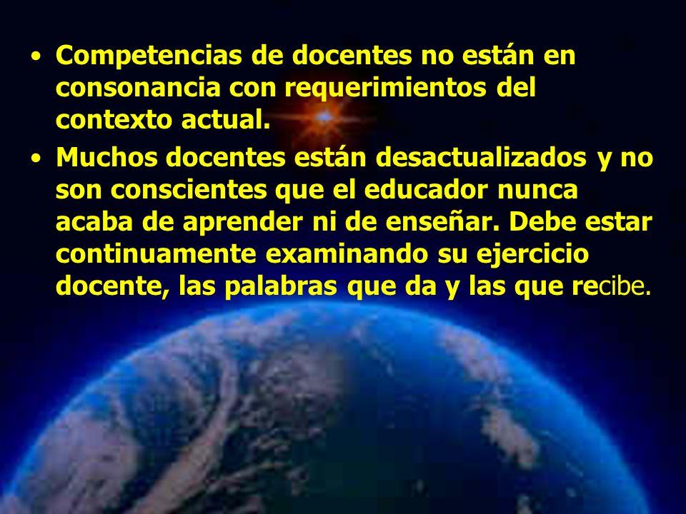 Mariela Salgado A Competencias de docentes no están en consonancia con requerimientos del contexto actual. Muchos docentes están desactualizados y no