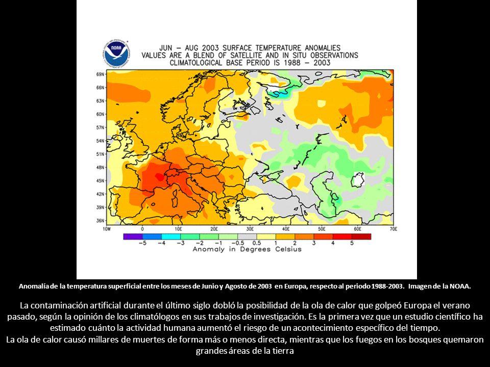 Anomalía de la temperatura superficial entre los meses de Junio y Agosto de 2003 en Europa, respecto al periodo 1988-2003.