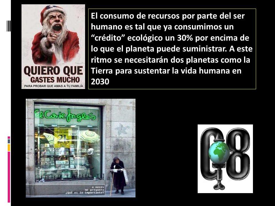 El consumo de recursos por parte del ser humano es tal que ya consumimos un crédito ecológico un 30% por encima de lo que el planeta puede suministrar.