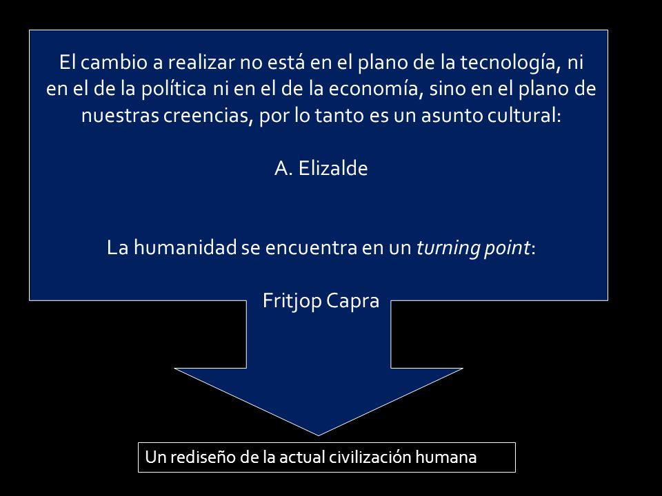 Un rediseño de la actual civilización humana El cambio a realizar no está en el plano de la tecnología, ni en el de la política ni en el de la economía, sino en el plano de nuestras creencias, por lo tanto es un asunto cultural: A.