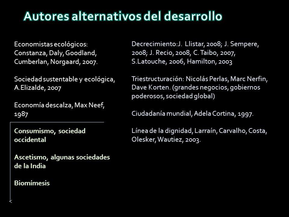 Decrecimiento:J. Llistar, 2008; J. Sempere, 2008; J.