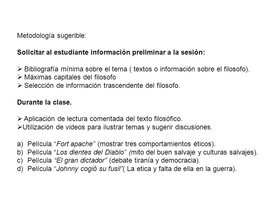 Metodología sugerible: Solicitar al estudiante información preliminar a la sesión: Bibliografía mínima sobre el tema ( textos o información sobre el f