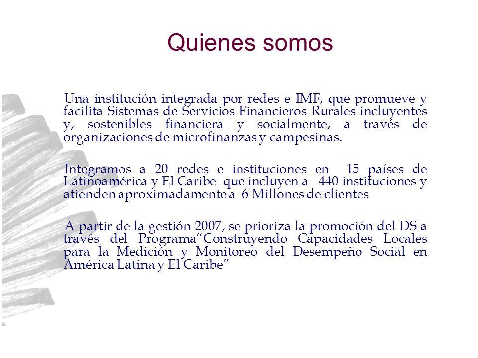 Quienes somos Una institución integrada por redes e IMF, que promueve y facilita Sistemas de Servicios Financieros Rurales incluyentes y, sostenibles