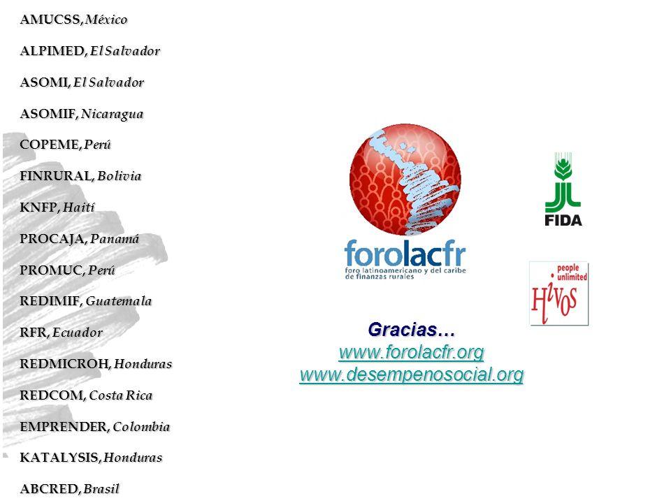 Gracias… www.forolacfr.org www.desempenosocial.org AMUCSS, México ALPIMED, El Salvador ASOMI, El Salvador ASOMIF, Nicaragua COPEME, Perú FINRURAL, Bol
