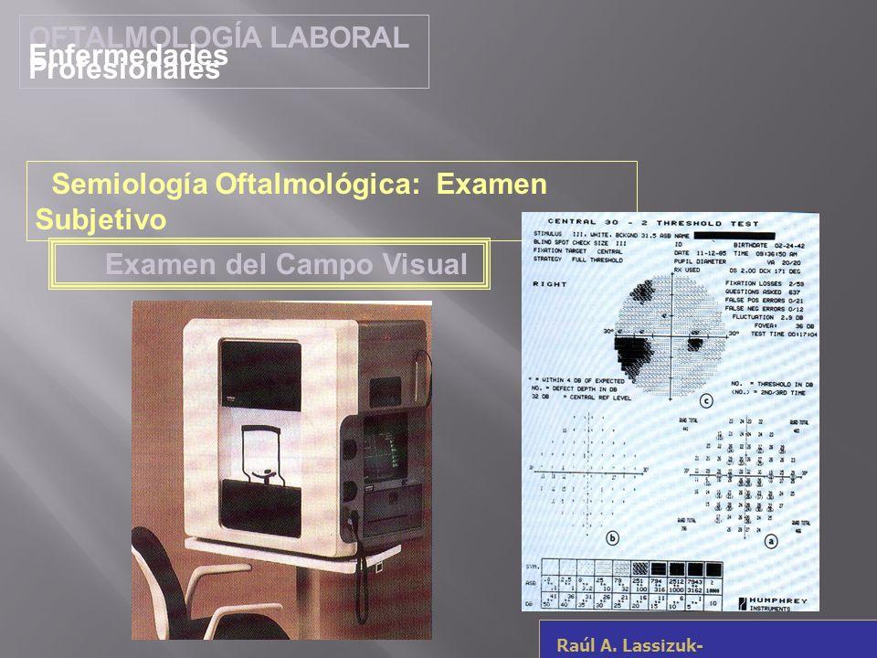 OFTALMOLOGÍA LABORAL Enfermedades Profesionales Raúl A. Lassizuk- rlassizuk@yahoo.com Examen del Campo Visual Semiología Oftalmológica: Examen Subjeti