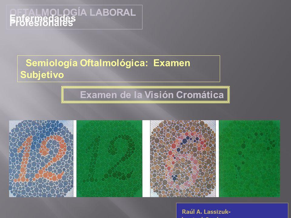 OFTALMOLOGÍA LABORAL Enfermedades Profesionales Raúl A. Lassizuk- rlassizuk@yahoo.com Examen de la Visión Cromática Semiología Oftalmológica: Examen S