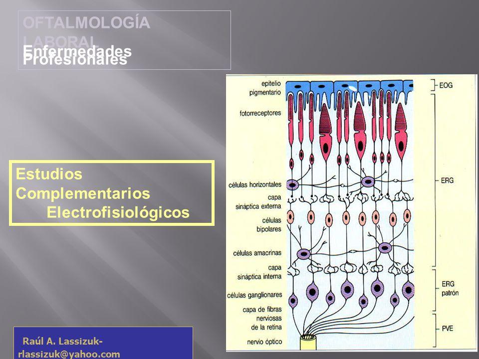OFTALMOLOGÍA LABORAL Enfermedades Profesionales Raúl A. Lassizuk- rlassizuk@yahoo.com Estudios Complementarios Electrofisiológicos