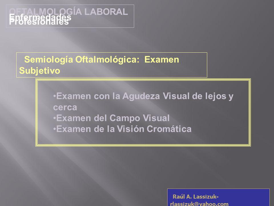 OFTALMOLOGÍA LABORAL Enfermedades Profesionales Raúl A. Lassizuk- rlassizuk@yahoo.com Examen con la Agudeza Visual de lejos y cerca Examen del Campo V