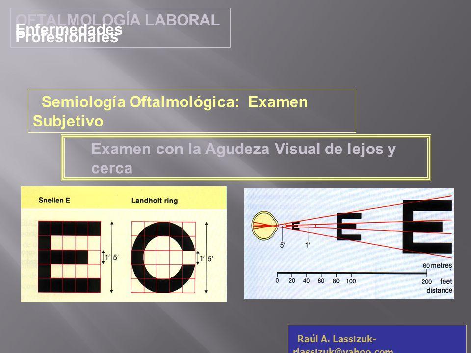 OFTALMOLOGÍA LABORAL Enfermedades Profesionales Raúl A. Lassizuk- rlassizuk@yahoo.com Examen con la Agudeza Visual de lejos y cerca Semiología Oftalmo
