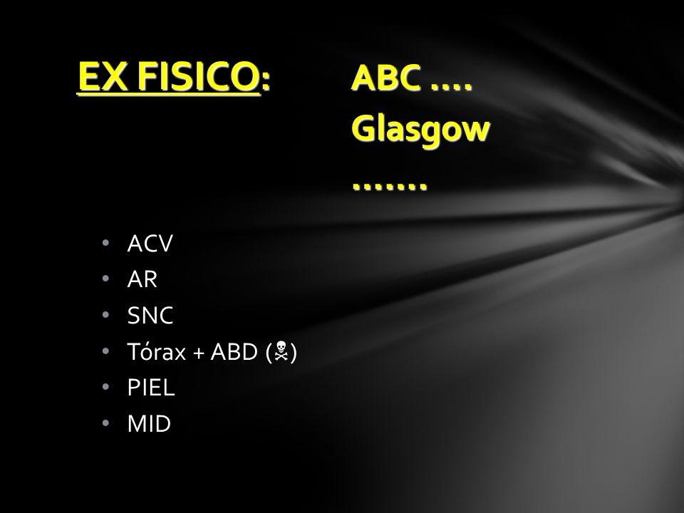 ACV AR SNC Tórax + ABD ( ) PIEL MID EX FISICO :ABC …. Glasgow…….