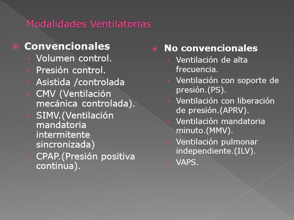 Convencionales Volumen control. Presión control. Asistida /controlada CMV (Ventilación mecánica controlada). SIMV.(Ventilación mandatoria intermitente