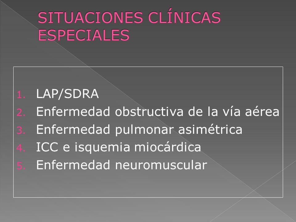 1. LAP/SDRA 2. Enfermedad obstructiva de la vía aérea 3. Enfermedad pulmonar asimétrica 4. ICC e isquemia miocárdica 5. Enfermedad neuromuscular
