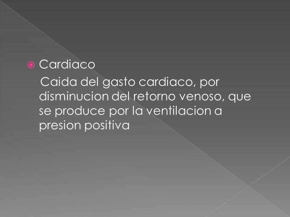 Cardiaco Caida del gasto cardiaco, por disminucion del retorno venoso, que se produce por la ventilacion a presion positiva