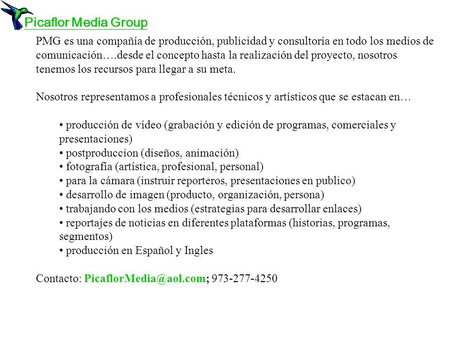 PMG es una compañía de producción, publicidad y consultoría en todo los medios de comunicación….desde el concepto hasta la realización del proyecto, nosotros tenemos los recursos para llegar a su meta.