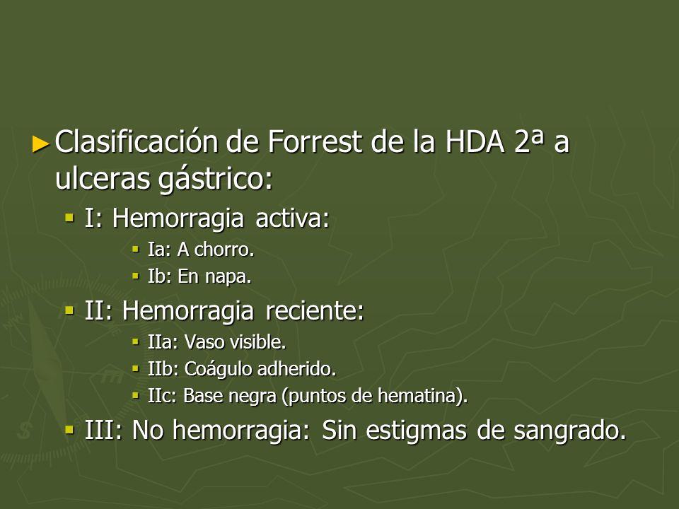 Clasificación de Forrest de la HDA 2ª a ulceras gástrico: Clasificación de Forrest de la HDA 2ª a ulceras gástrico: I: Hemorragia activa: I: Hemorragi