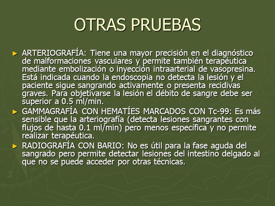 OTRAS PRUEBAS ARTERIOGRAFÍA: Tiene una mayor precisión en el diagnóstico de malformaciones vasculares y permite también terapéutica mediante embolizac